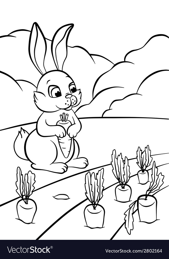 Little hare with carrot vector | Price: 1 Credit (USD $1)