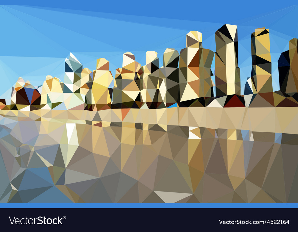 Low poly beach and city background vector | Price: 1 Credit (USD $1)