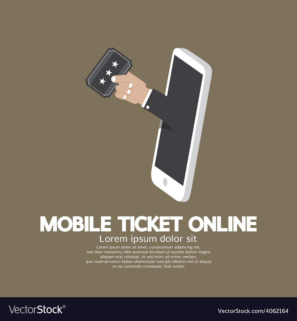 Mobile ticket online concept vector