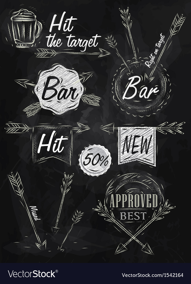 Set emblem of bar boom arrow chalk vector | Price: 1 Credit (USD $1)