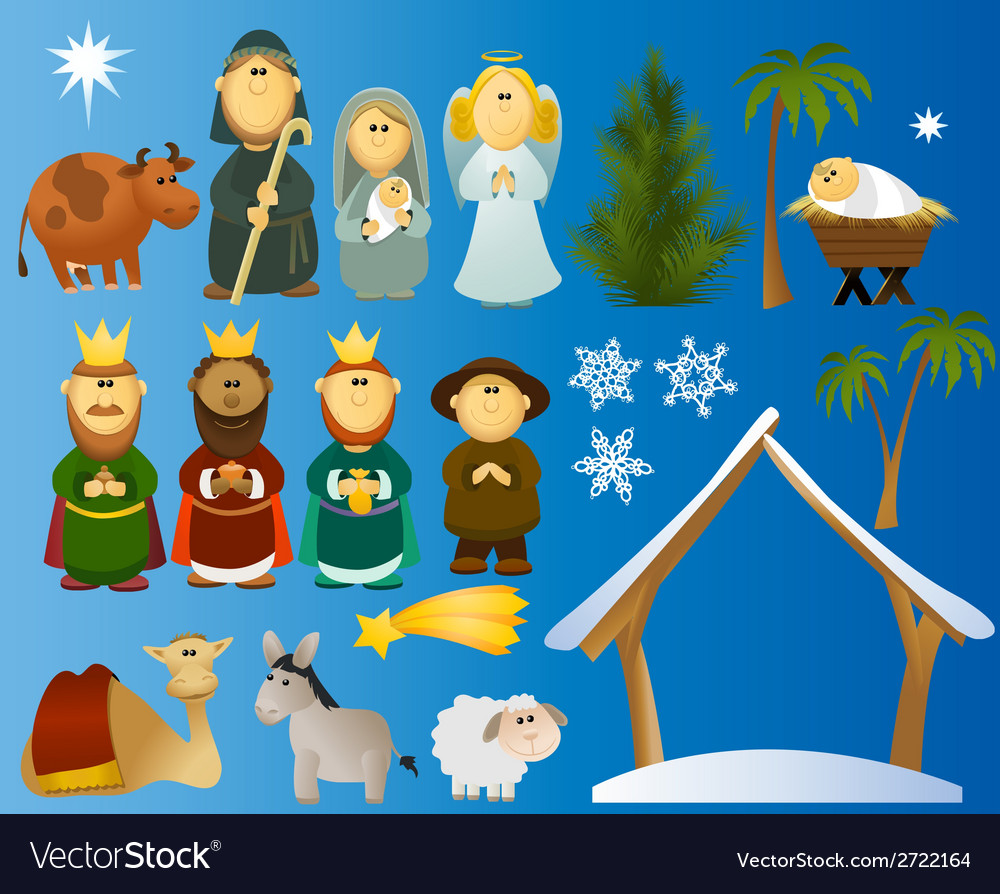 Set of christmas scene elements vector | Price: 1 Credit (USD $1)