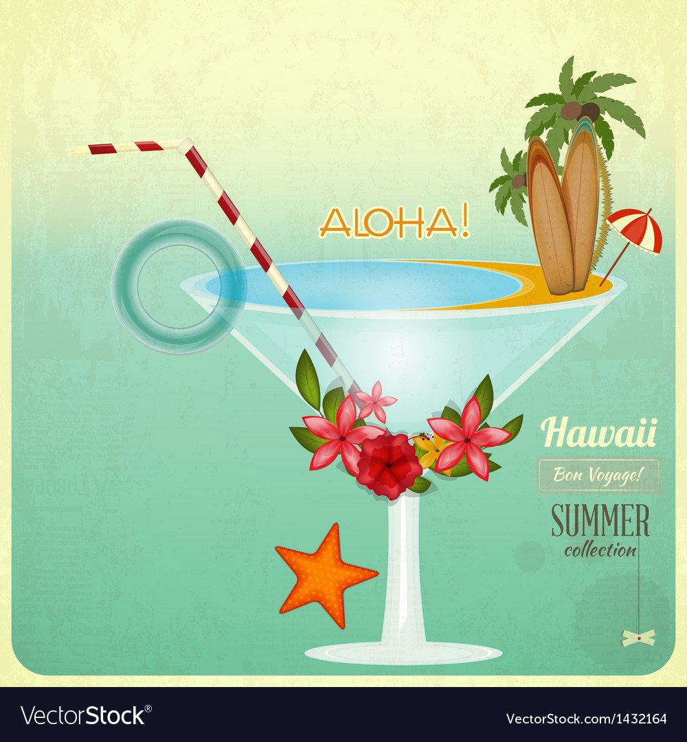 Summer cocktail card in retro style vector | Price: 3 Credit (USD $3)