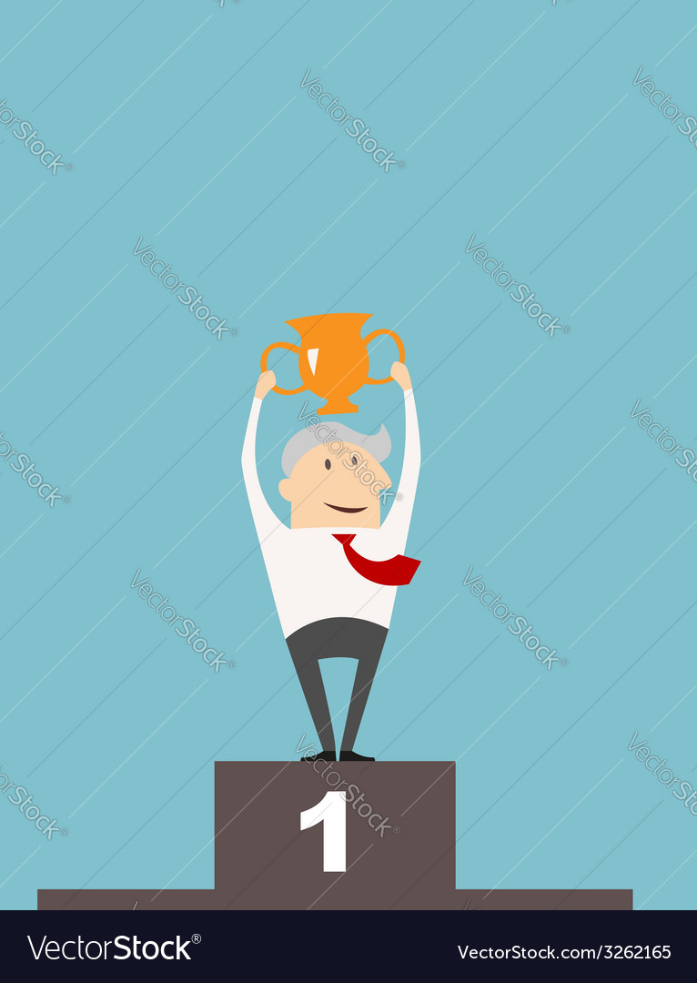 Businessman with cup on a winners podium vector | Price: 1 Credit (USD $1)