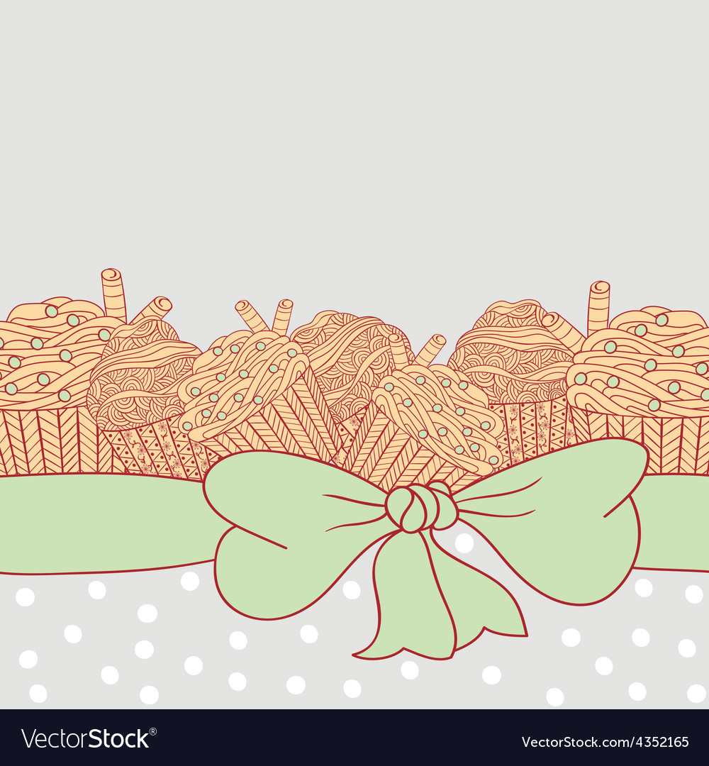 Card with muffins tied with ribbon and bow vector | Price: 1 Credit (USD $1)