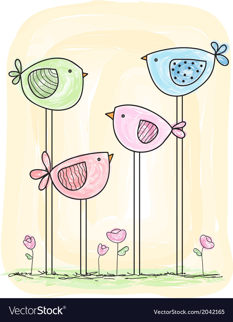 Cute painted birds in watercolor style vector | Price: 1 Credit (USD $1)