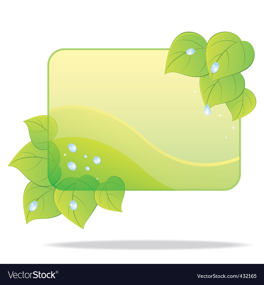 Eco card with green leaves vector | Price: 1 Credit (USD $1)
