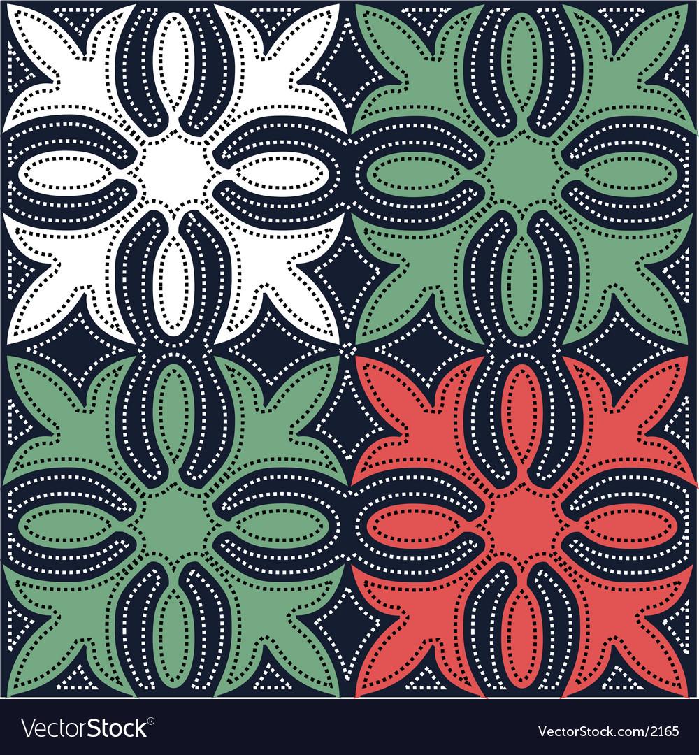 Hawaiian quilt pattern vector | Price: 1 Credit (USD $1)