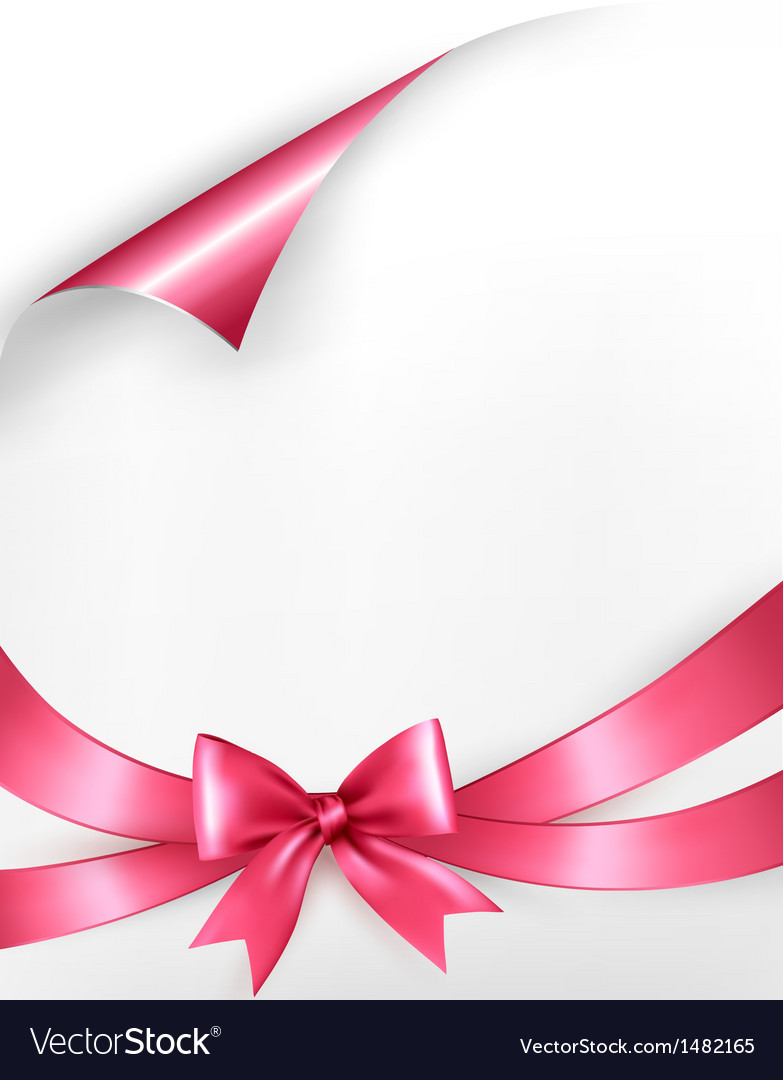 Holiday background with pink gift bow and ribbons vector | Price: 1 Credit (USD $1)
