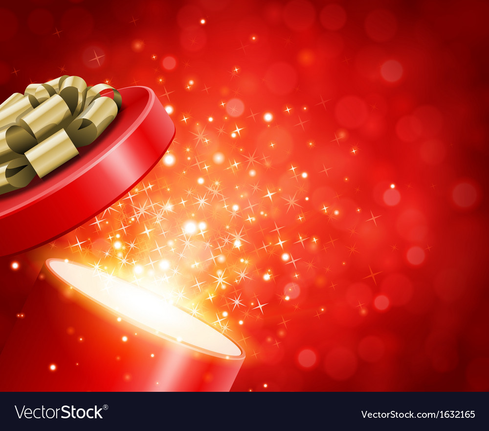 Open gift and light fireworks christmas vector | Price: 1 Credit (USD $1)
