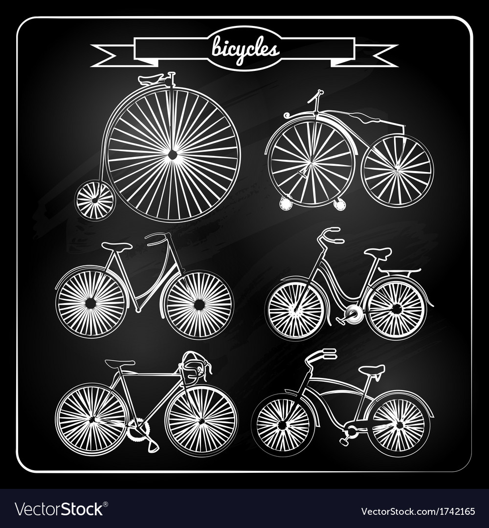Set of bicycles in vintage style vector | Price: 1 Credit (USD $1)