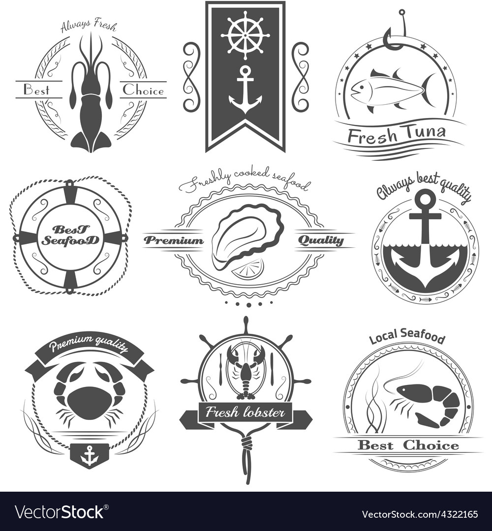 Set of logos seafood vector | Price: 1 Credit (USD $1)
