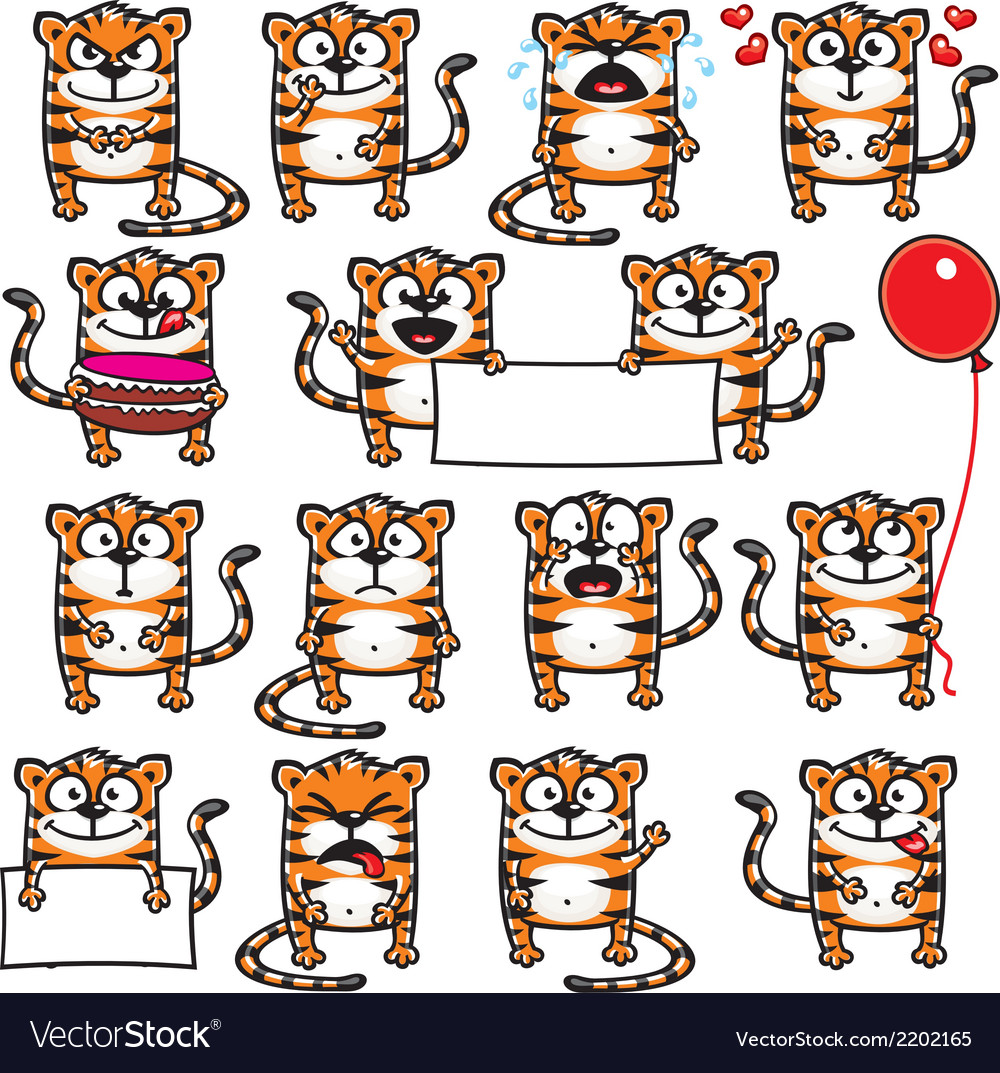 Smiley tigers vector | Price: 1 Credit (USD $1)