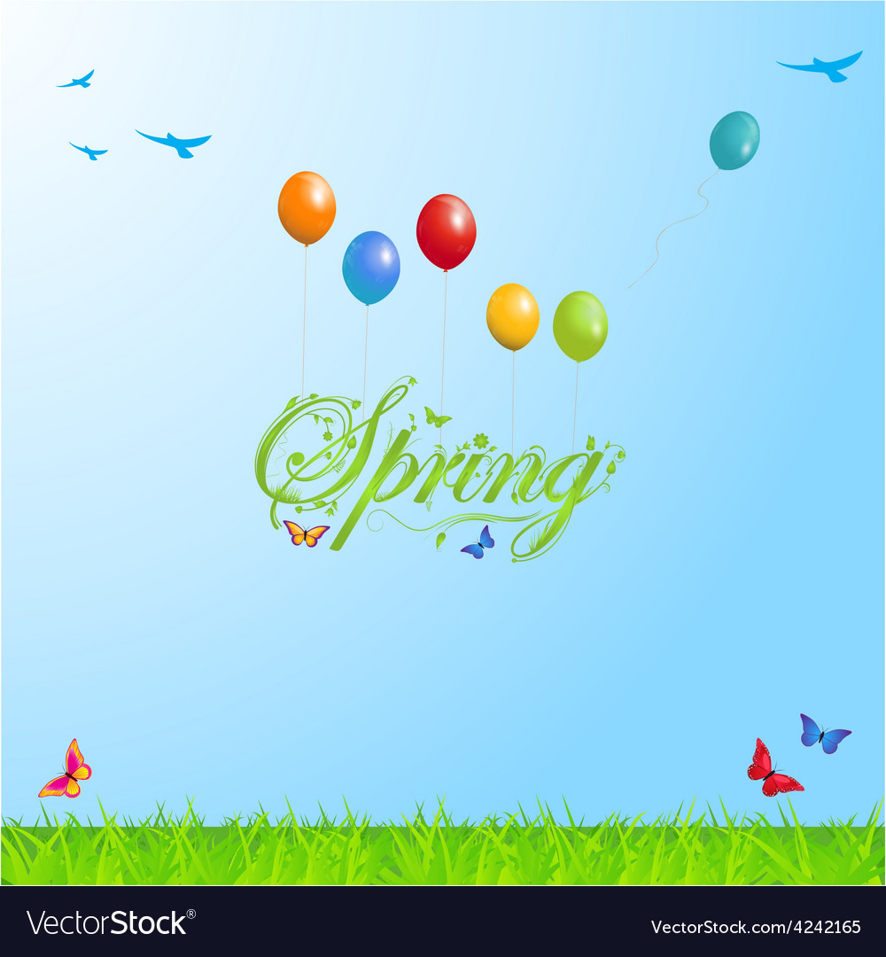 Spring background with text and balloons vector | Price: 1 Credit (USD $1)