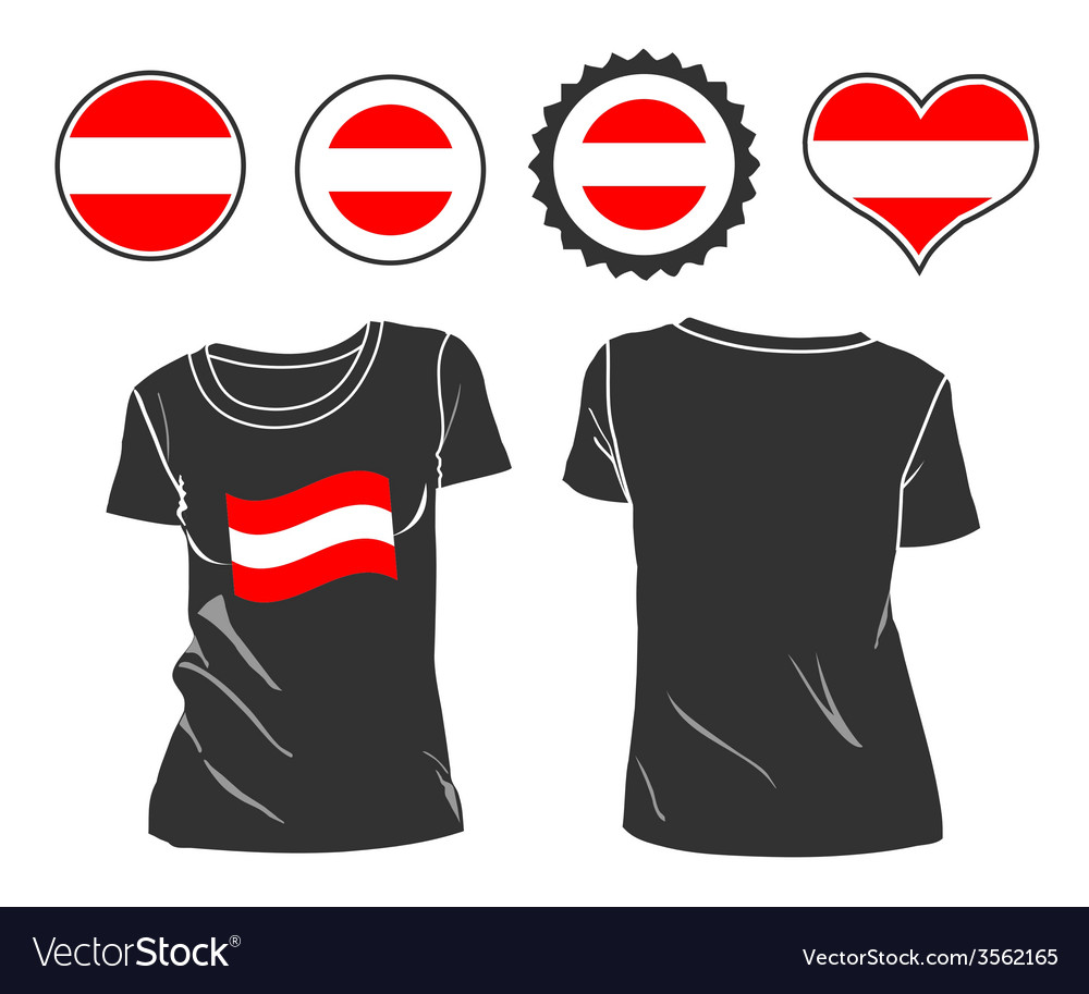 T-shirt with the flag of austria vector | Price: 1 Credit (USD $1)