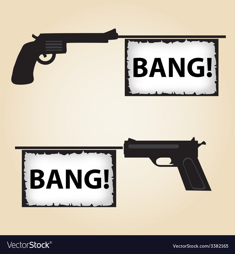 Two handguns fire banner with text eps10 vector | Price: 1 Credit (USD $1)