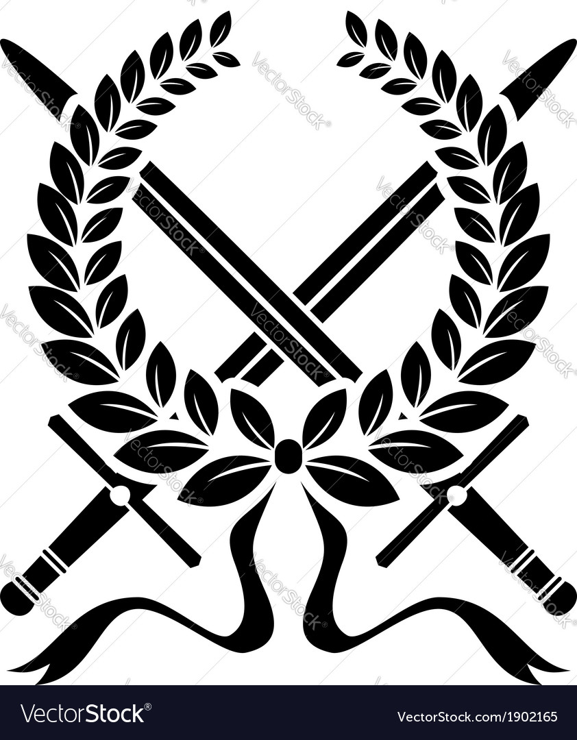 Victory wreath with crossed swords vector | Price: 1 Credit (USD $1)