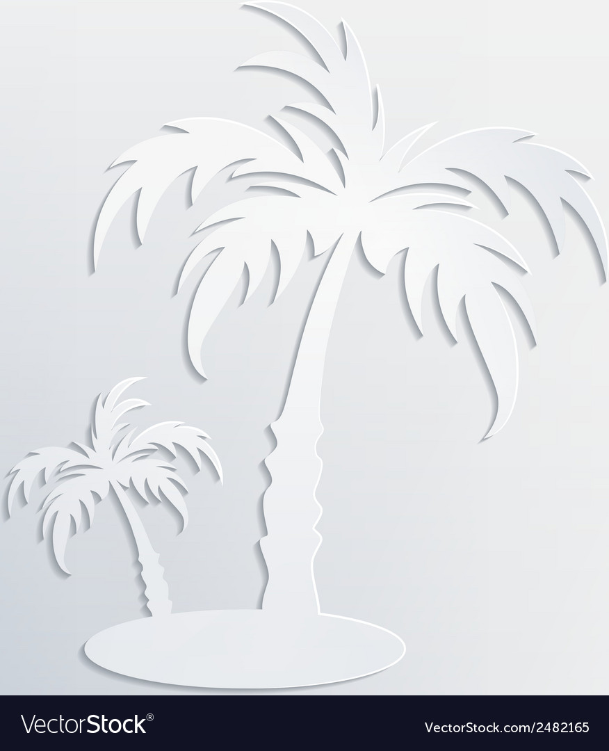 White background with palm cut out of white paper vector | Price: 1 Credit (USD $1)