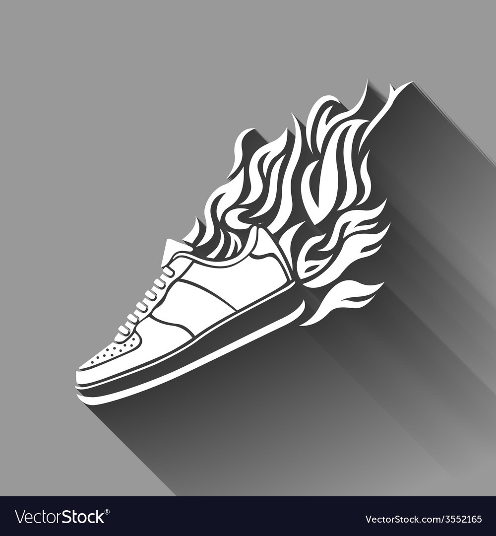 With silhouette of running shoe icon background vector | Price: 1 Credit (USD $1)
