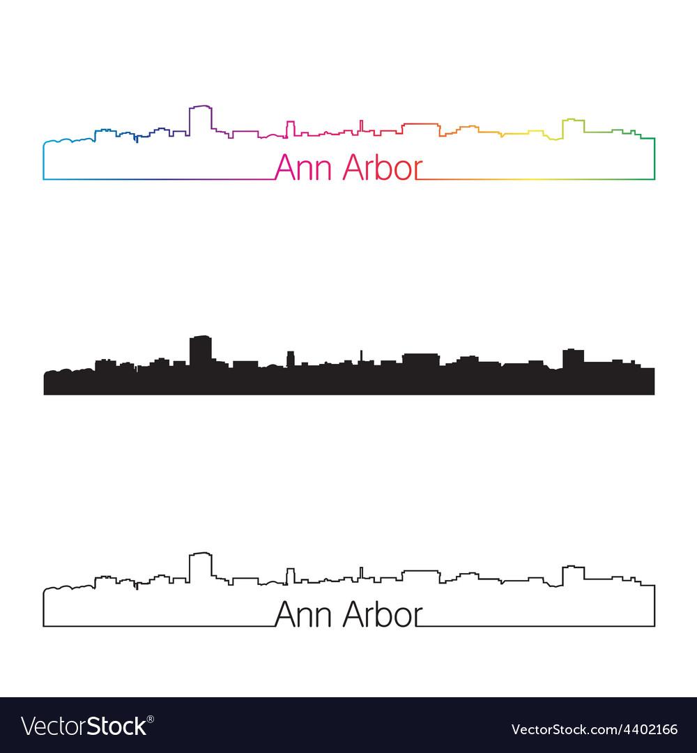 Ann arbor skyline linear style with rainbow vector | Price: 1 Credit (USD $1)