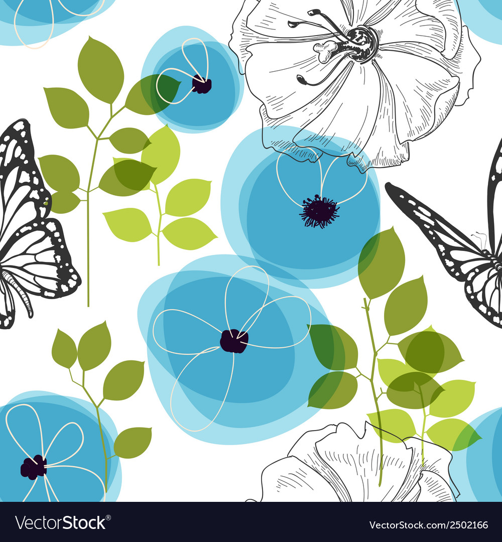Blue flowers and butterfly over white nature vector | Price: 1 Credit (USD $1)
