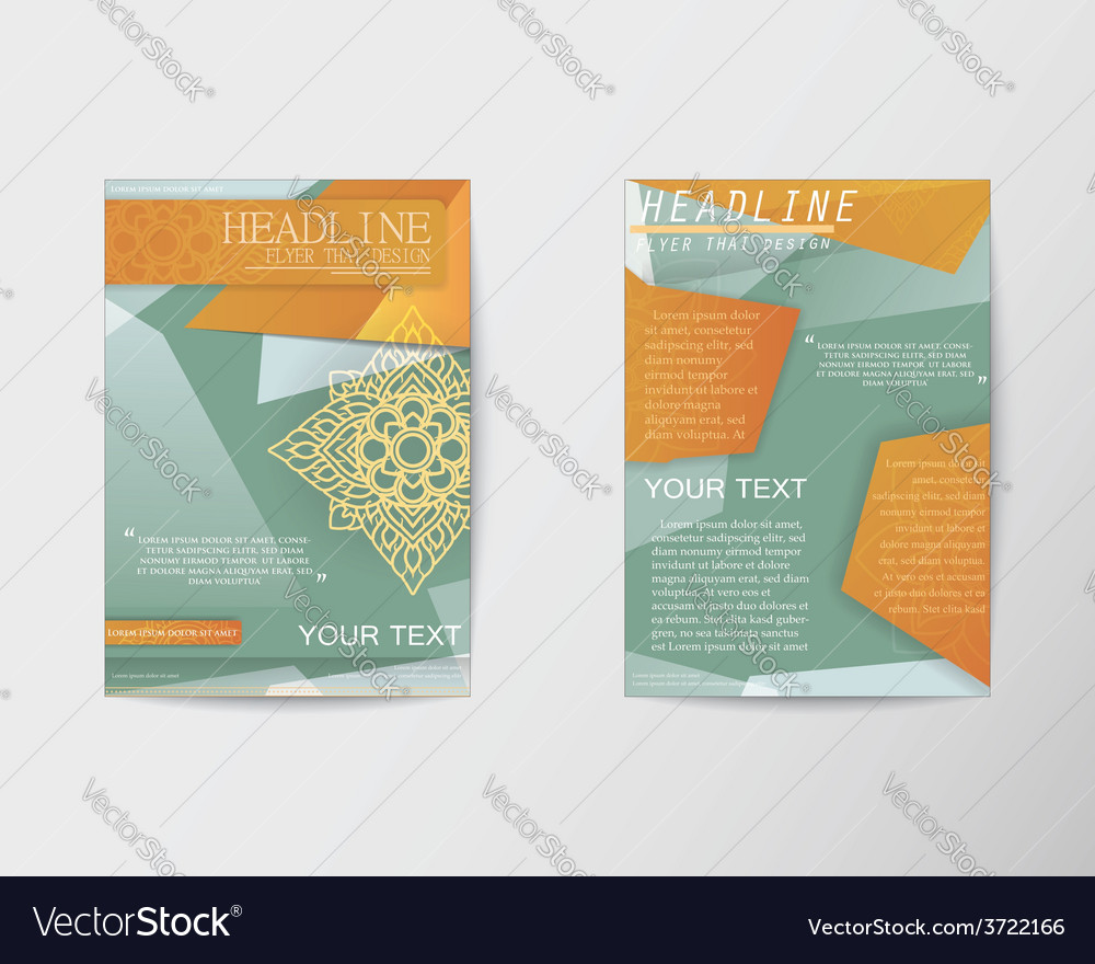 Brochure flyer abstract thai style template in a4 vector | Price: 1 Credit (USD $1)
