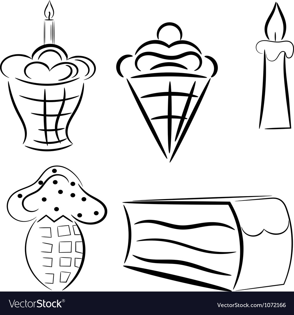 Cartoon set of cakes eps10 vector | Price: 1 Credit (USD $1)
