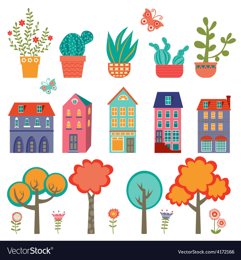 Colorful cute city collection - plants houses and vector | Price: 1 Credit (USD $1)