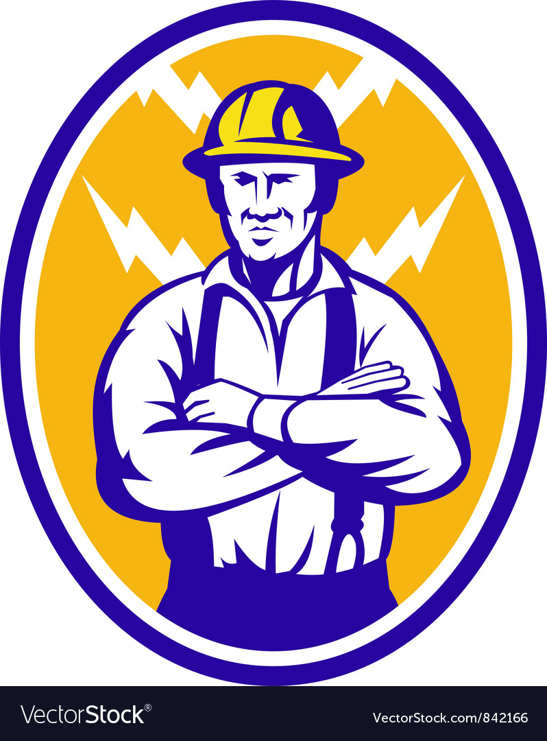 Electrician construction worker lightning bolt vector | Price: 1 Credit (USD $1)
