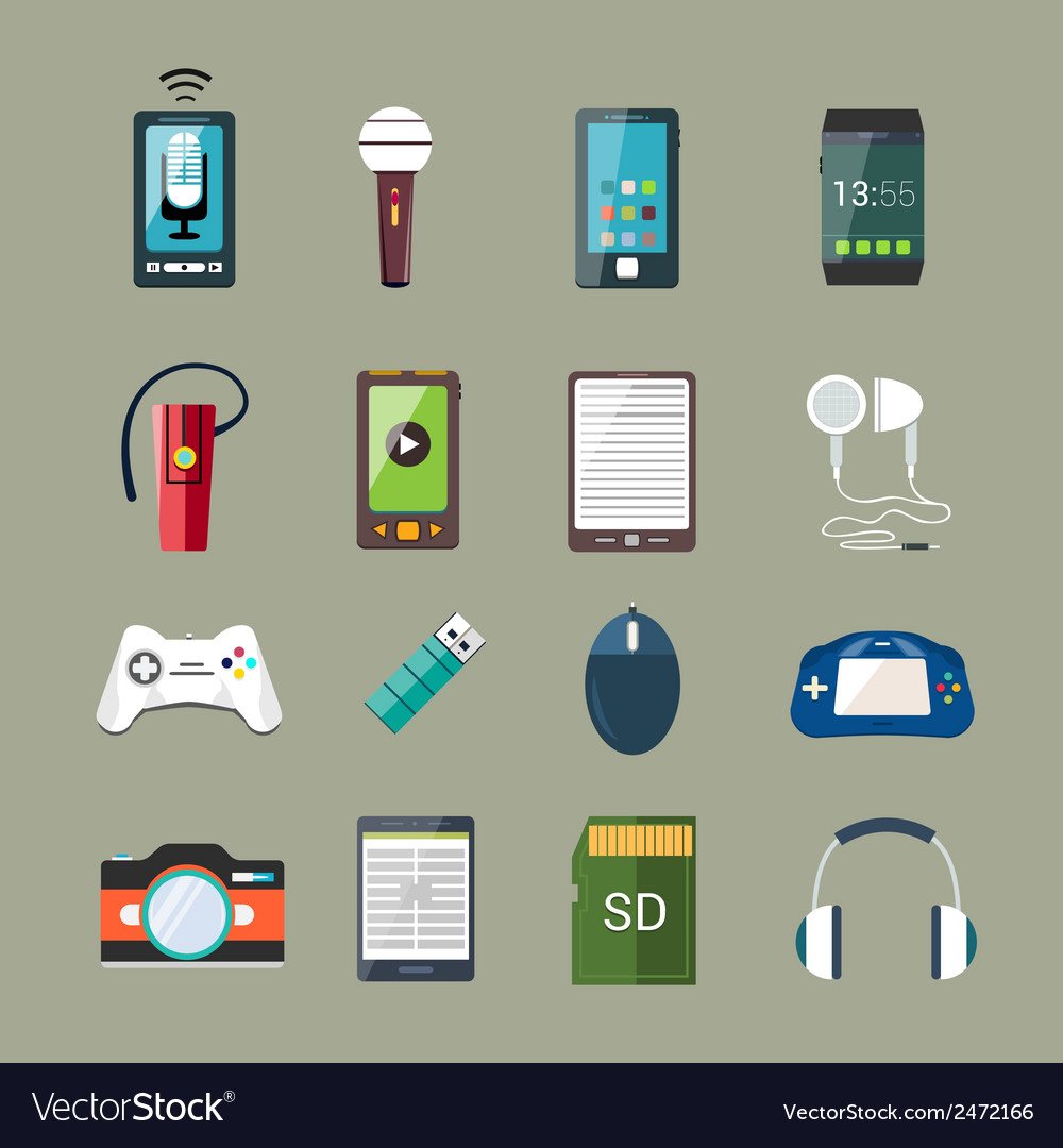 Gadget icons set vector | Price: 1 Credit (USD $1)