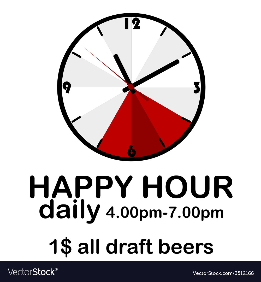 Happy hour concept with clock vector | Price: 1 Credit (USD $1)