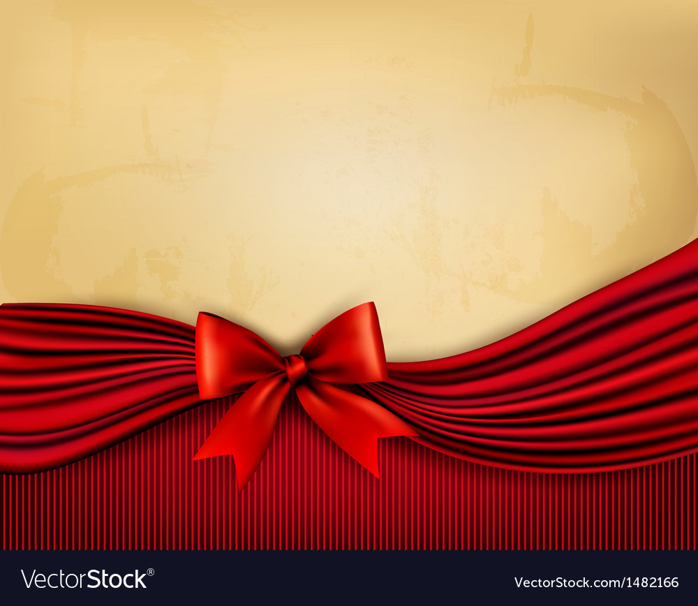Holiday background with old paper and red gift bow vector | Price: 1 Credit (USD $1)