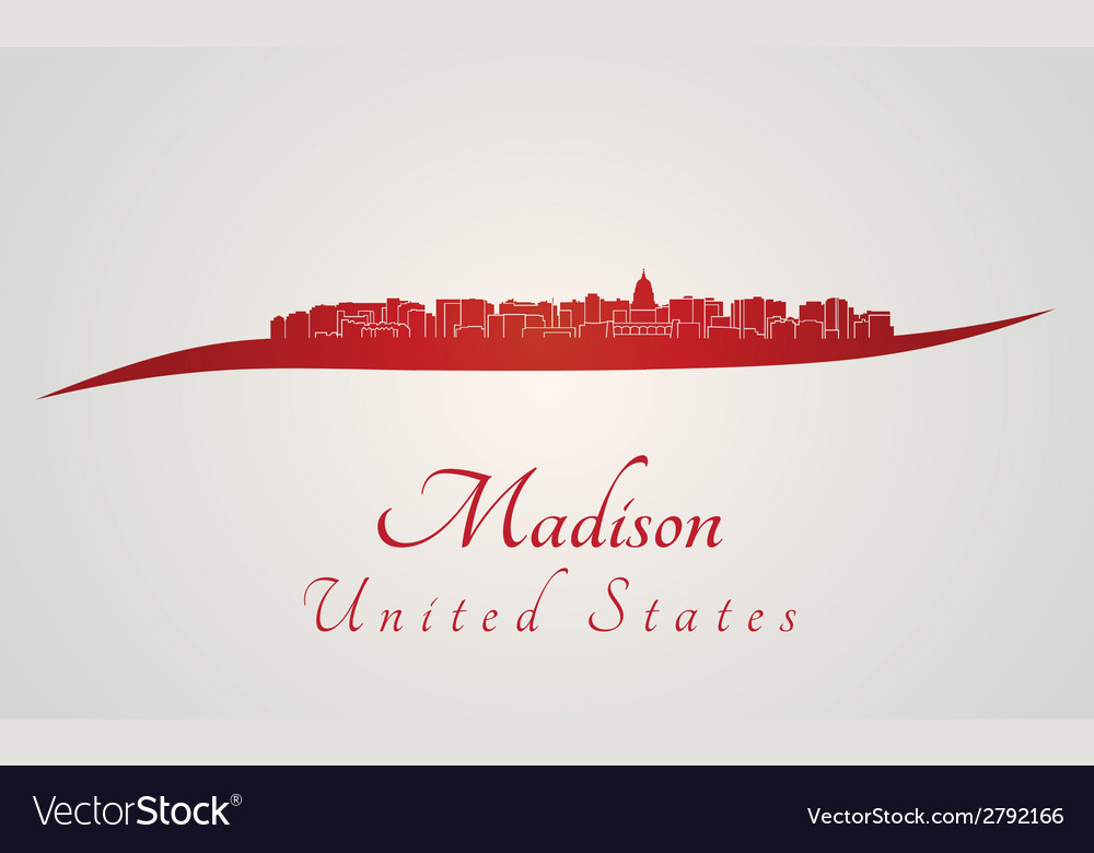 Madison skyline in red vector | Price: 1 Credit (USD $1)