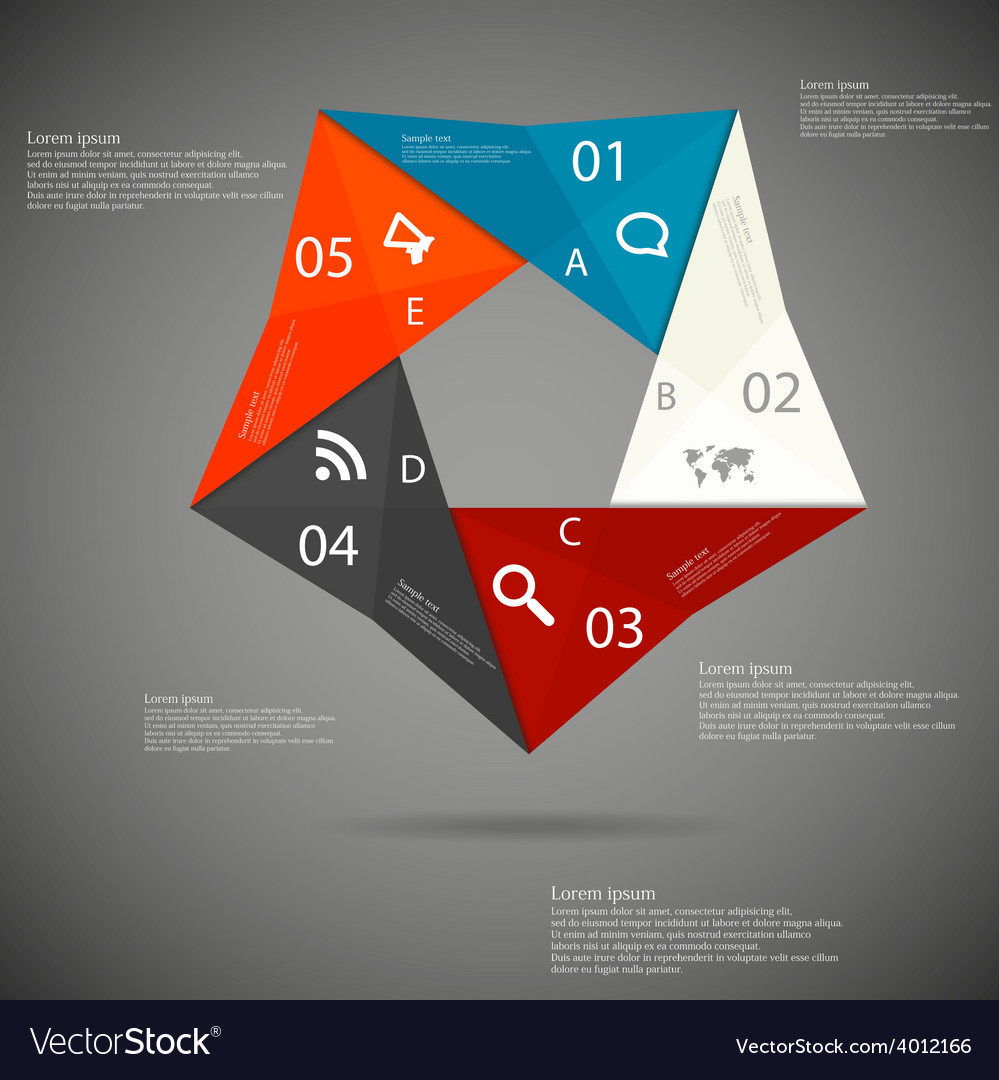 Pentagon origami infographic vector | Price: 1 Credit (USD $1)