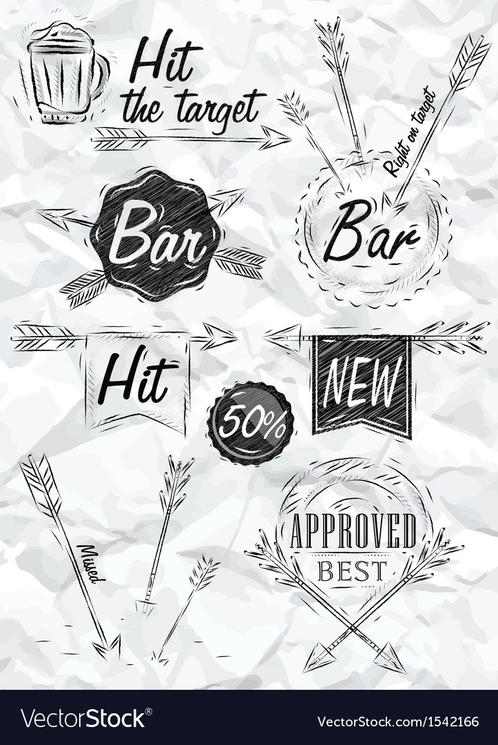 Set emblem of bar boom arrow crumpled paper vector | Price: 1 Credit (USD $1)