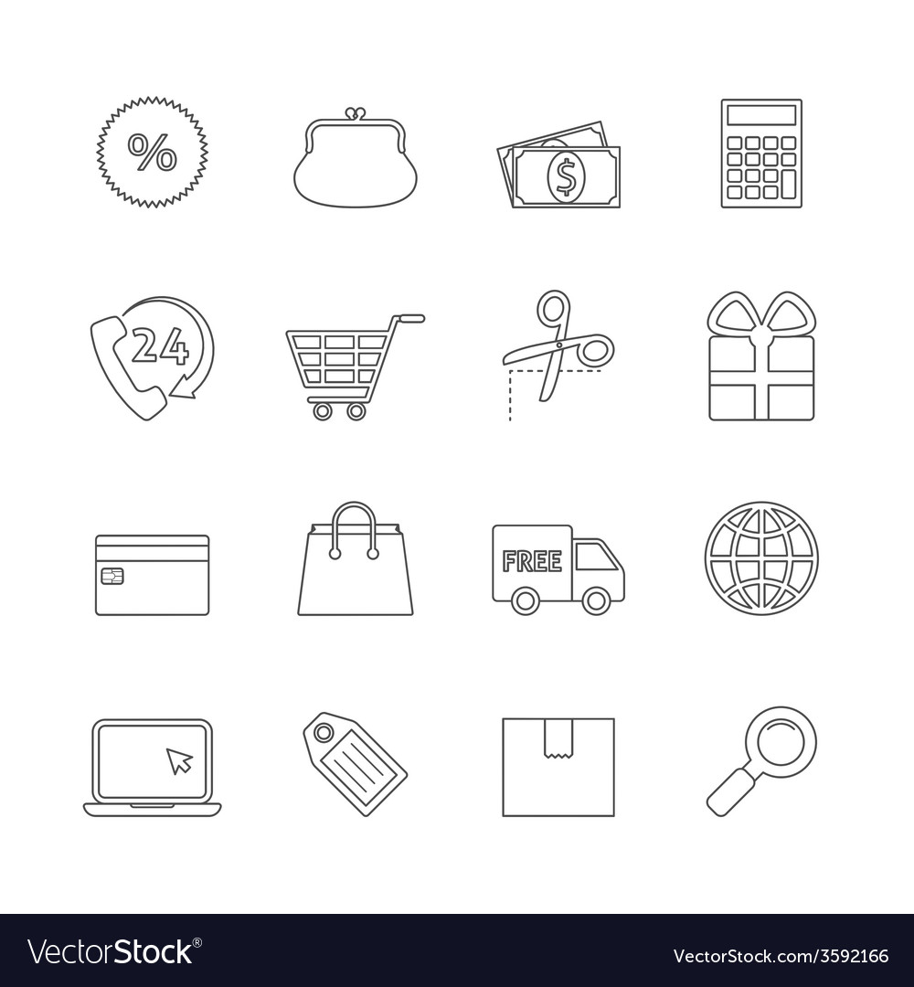 Shopping thin line icons vector | Price: 1 Credit (USD $1)