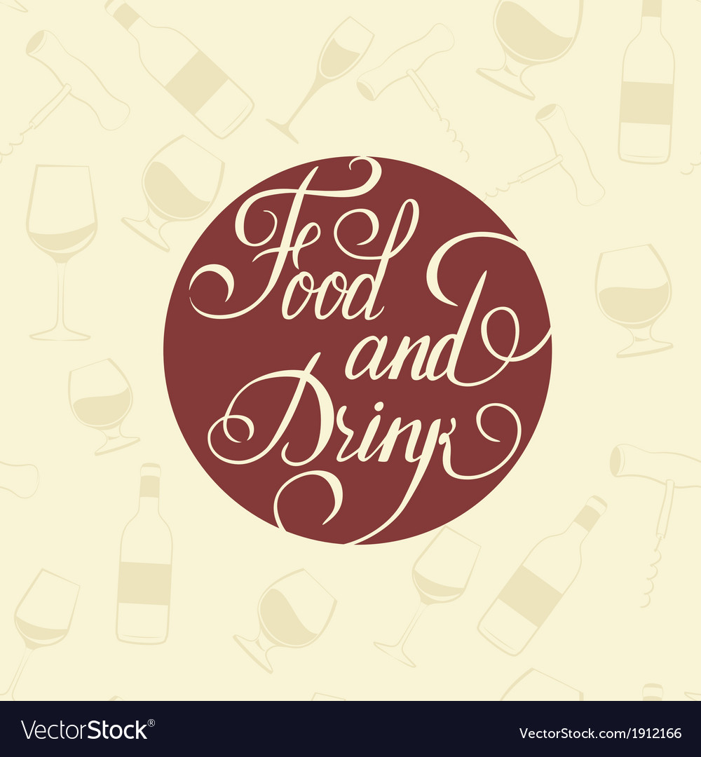 Word food and drink - on a white plate vector | Price: 1 Credit (USD $1)