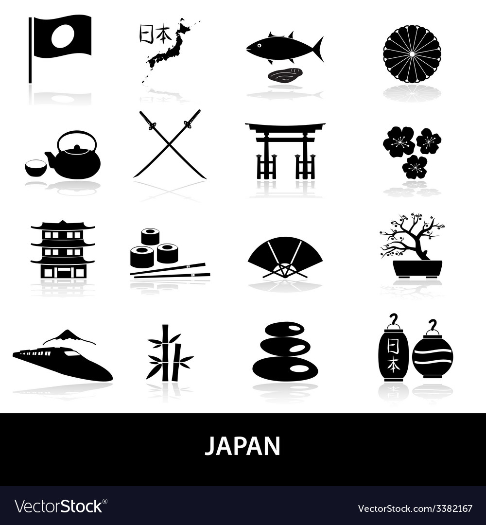 Black simple japan theme icons set eps10 vector | Price: 1 Credit (USD $1)