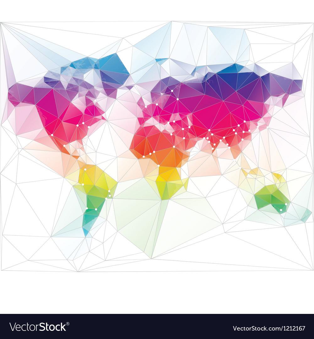 Colored world map triangle design vector | Price: 1 Credit (USD $1)