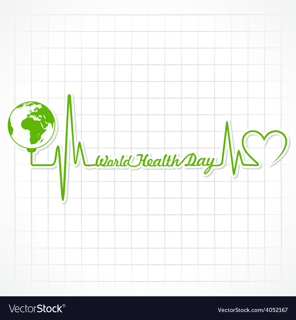 Creative world health day greeting with heartbeat vector | Price: 1 Credit (USD $1)