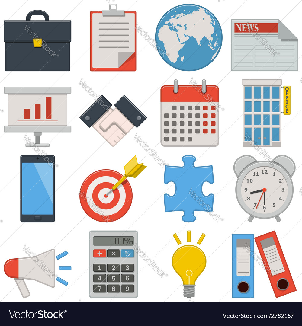 Flat icons business vector | Price: 1 Credit (USD $1)