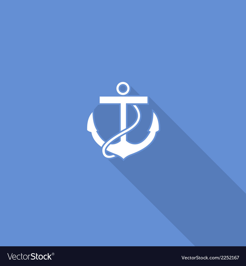 Flat long shadow sea anchor icon vector | Price: 1 Credit (USD $1)