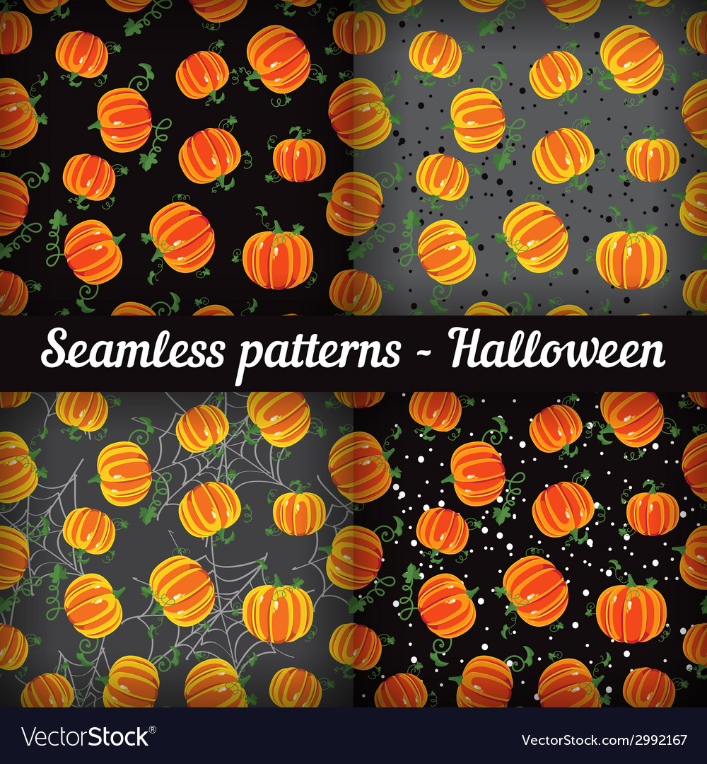 Halloween pumpkins set of seamless patterns vector | Price: 1 Credit (USD $1)