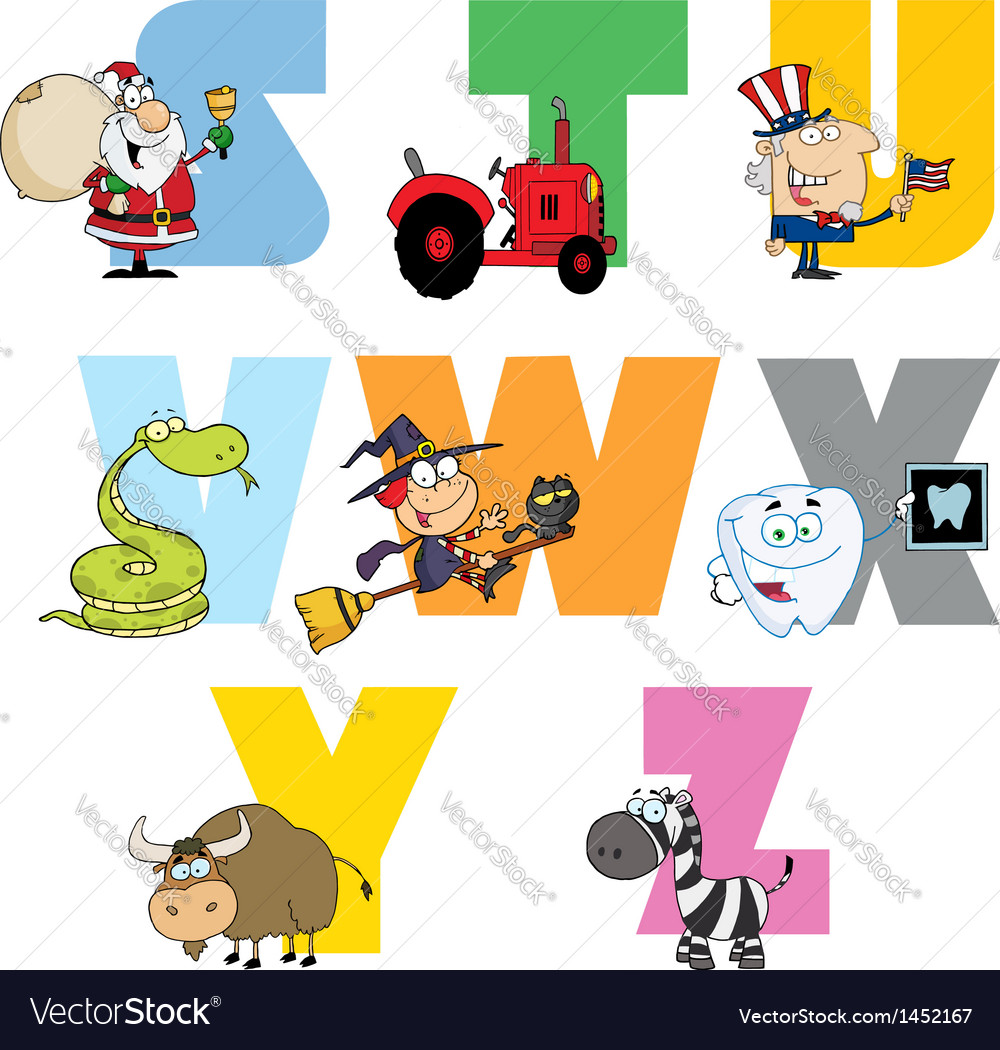 Joyful cartoon alphabet collection 3 vector | Price: 3 Credit (USD $3)