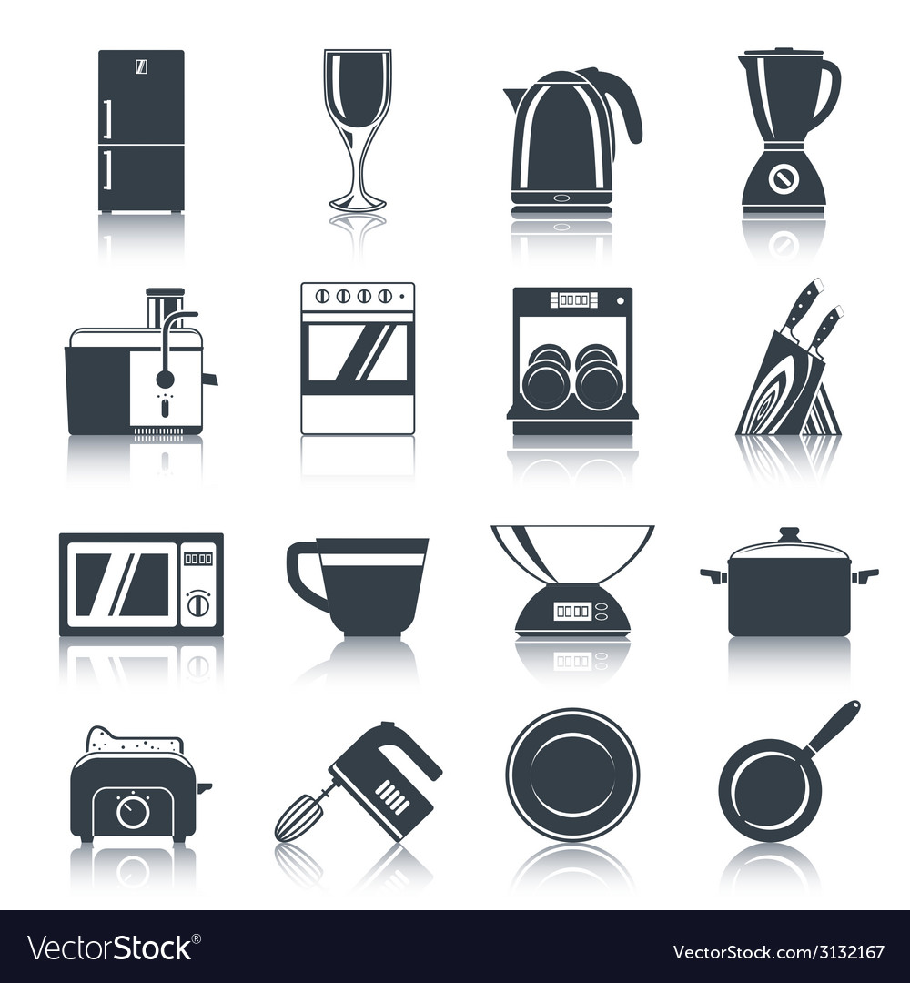 Kitchen appliances icons black vector | Price: 1 Credit (USD $1)