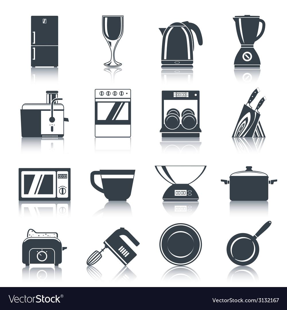 Kitchen appliances icons black vector | Price: 1 Credit (USD $1)