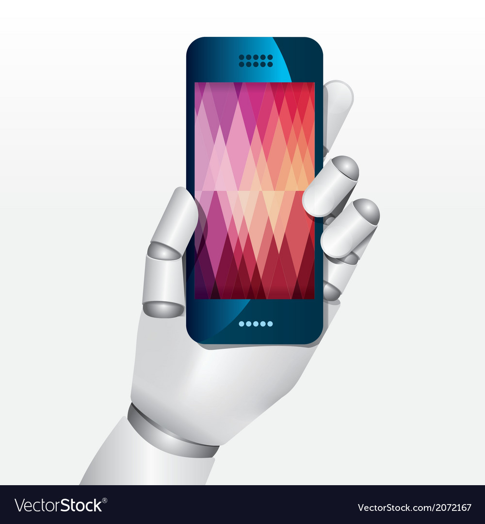 Robot hand hold smartphone design concept vector | Price: 1 Credit (USD $1)