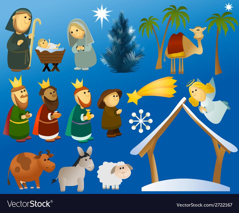 Set of christmas scene elements vector