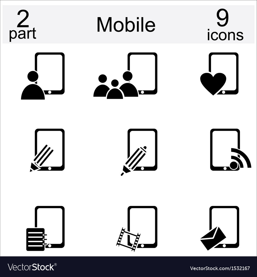 Set of mobile phone and human icons vector | Price: 1 Credit (USD $1)