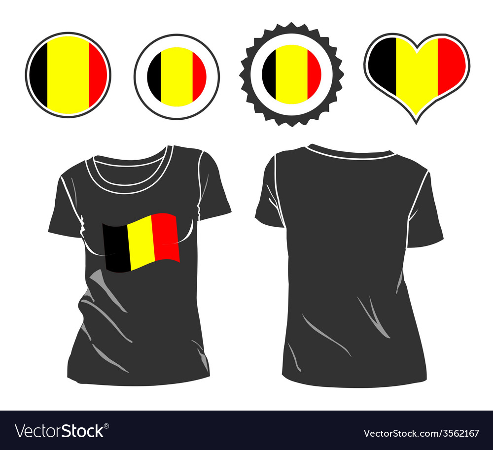T-shirt with the flag of belgium vector | Price: 1 Credit (USD $1)