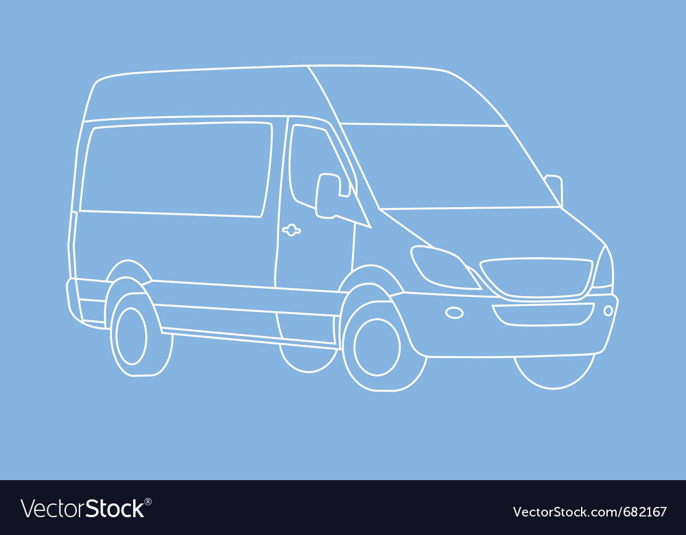 White delivery van vector